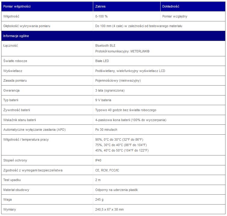 MR59_specyfikacja FLIR MR59 - Miernik wilgotności z sondą kulową